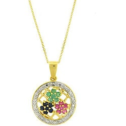 Dolce Giavonna Sterling Silver Two-tone Gemstone/ Diamond Accent Flower Necklace