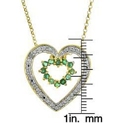 Dolce Giavonna 18k Gold over Sterling Silver Emerald and Diamond Heart Necklace