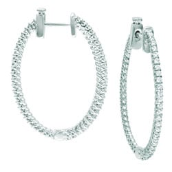 Sterling Silver 1/2ct TDW Diamond Oval Hoop Earrings (H-I, I1)