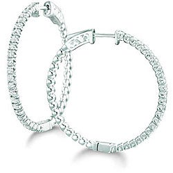Sterling Silver 1/2ct TDW 30MM Diamond Hoop Earrings (H-I)