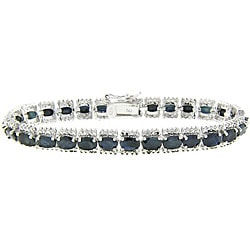 Dolce Giavonna Sterling Silver Sapphire and Diamond Accent Bracelet