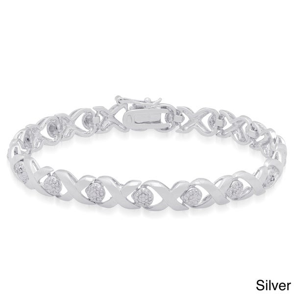 Finesque Sterling Silver 'X' and 'O' Diamond Accent Bracelet (J-K,I3)