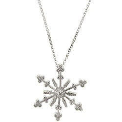 Dolce Giavonna Sterling Silver Diamond Accent Snowflake Necklace