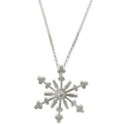 Finesque Sterling Silver Diamond Accent Snowflake Necklace