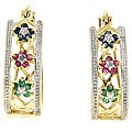 Dolce Giavonna 18k Gold over Sterling Silver Multi-gemstone Flower Hoop Earrings