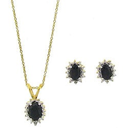 Dolce Giavonna 18k Gold over Sterling Silver Sapphire and Diamond Jewelry Set