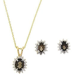 Dolce Giavonna 18k Gold over Sterling Silver Smokey Quartz/ Diamond Jewelry Set