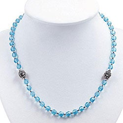 Silver Faceted Sky Blue Glass Necklace (Thailand)