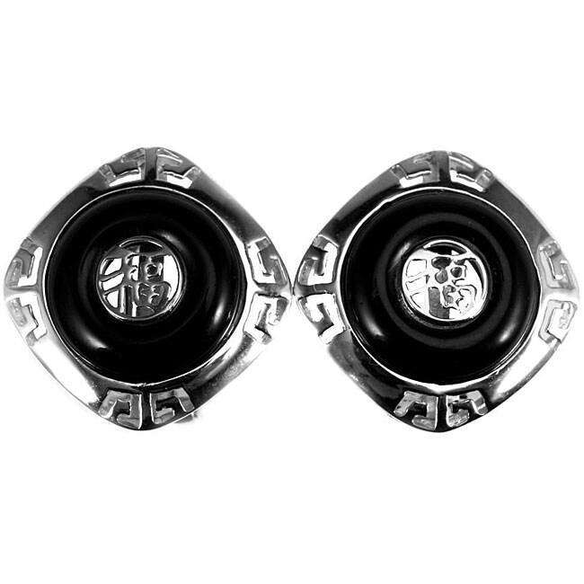 Sterling Silver Black Onyx Earrings (China)