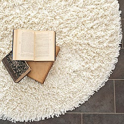 Hand-woven Bliss Off-White Shag Rug (4' Round)