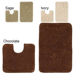 Celebration Large Scroll 2-piece Contour and Bath Rug Set