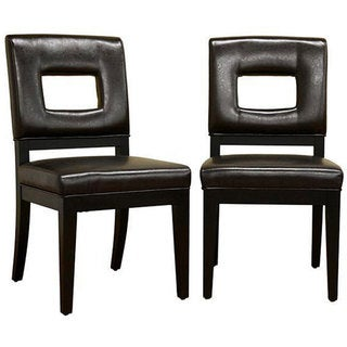 Contemporary Leather Chairs Brown (Set of 2)