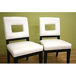 Contemporary Leather Chairs White (Set of 2)