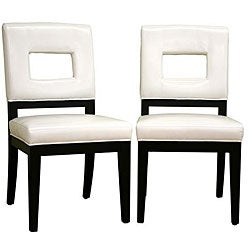 Contemporary Leather Chairs Cream (Set of 2)