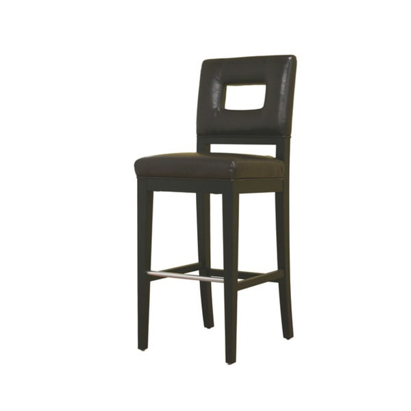 Contemporary Brown Leather Bar Stool 12367460