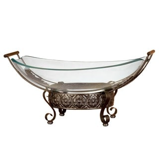 Ancient Greek Inspired Glass Bowl with Ornamental Stand