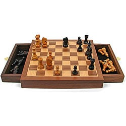 Walnut Style Wood Cabinet Chess Set