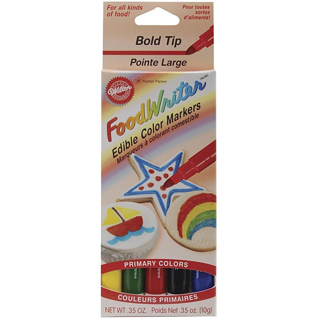 Bold Tip Food Writer Edible 'Primary' Color Markers (5/Pkg)