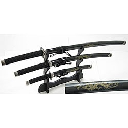 Japanese Samurai 3-piece Black Sword Set
