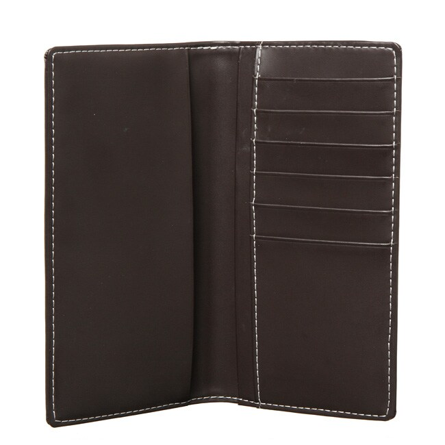 Royce Leather Chocolate Checkbook Wallet with Six Credit Card Pockets