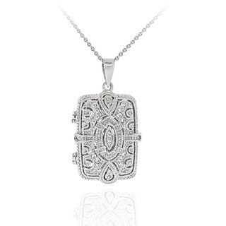 Icz Stonez Sterling Silver Cubic Zirconia Swirl Filigree Rectangle Necklace