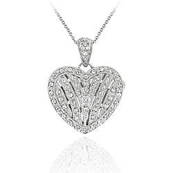 Icz Stonez Sterling Silver Cubic Zirconia Heart Locket Necklace