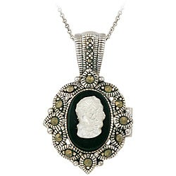 Glitzy Rocks Silver Marcasite/ Onyx/ Mother of Pearl Cameo Locket Necklace