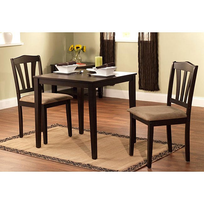 Square Dining Table And Chairs Set Small Space Wood Wooden 3 Piece ...