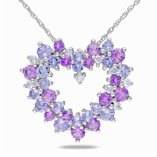 10k Gold Amethyst and Tanzanite Necklace