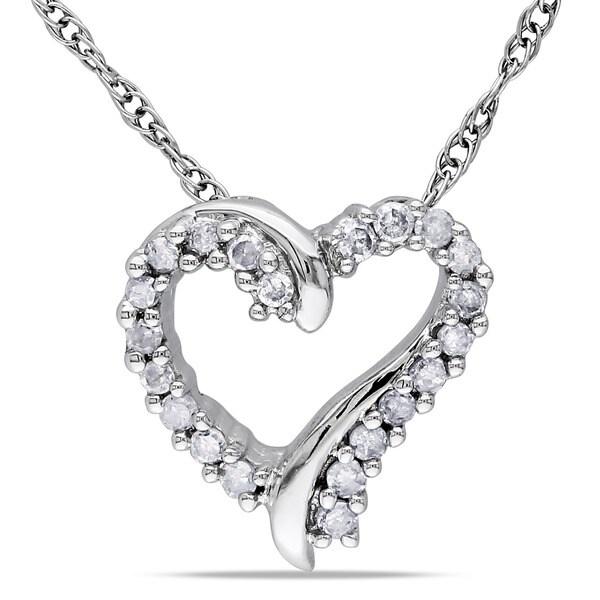 Haylee Jewels 10k White Gold Diamond Heart Necklace (H-I, I2-I3)