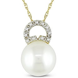 10k Gold Diamond and Freshwater Pearl Necklace (10-10.5 mm)