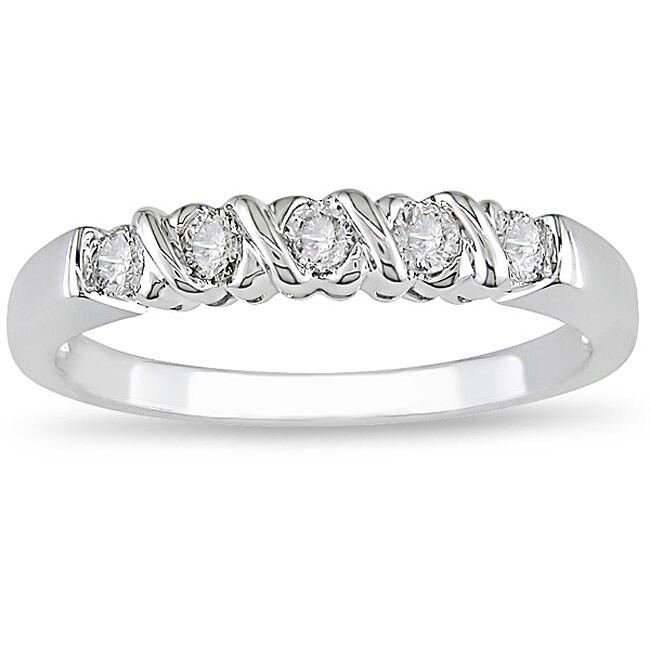 Miadora 10k White Gold 1/4ct TDW Diamond Anniversary Ring (H-I, I2-I3)