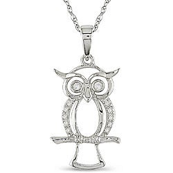 M by Miadora 10k White Gold Diamond Accent Owl Necklace (H-I, I2-I3)