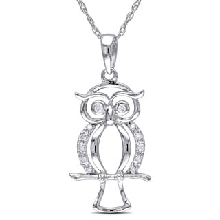 M by Miadora 10k White Gold Diamond Accent Owl Necklace (H-I, I2-I3)