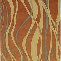 Hand-tufted Orange Contemporary Spirit New Zealand Wool Abstract Rug (8' x 11')