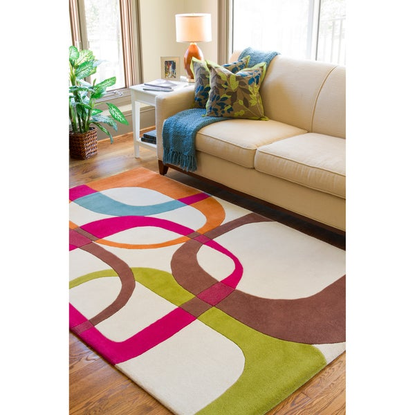 Hand-tufted Ivory Contemporary Multi Colored Squares New Zealand Wool Geometric Rug (8' x 11')