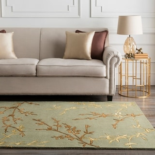 Hand-tufted Masquerade Light Green Floral Wool Blend Rug (8' x 11')