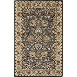 Hand-tufted Coliseum Gray Traditional Border Wool Rug (8' Square)