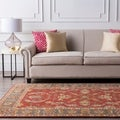Hand-tufted Coliseum Rust Traditional Border Wool Rug (8' Square)