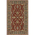 Hand-tufted Coliseum Rust Traditional Border Wool Rug (4' Square)