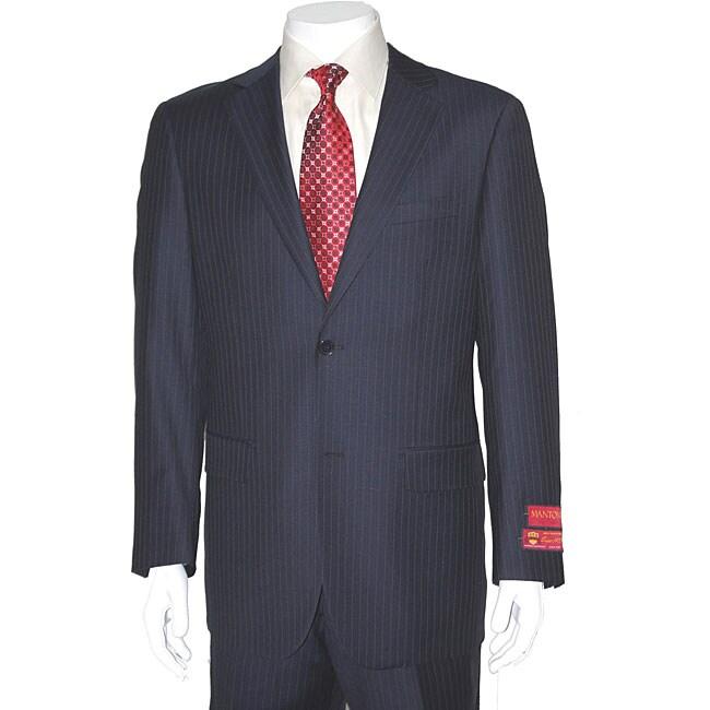 Men's Fine Pinstripe Two-button Wool Suit
