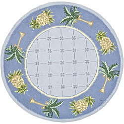 Hand-hooked Palm Light Blue/ Blue Wool Rug (5'6 Round)