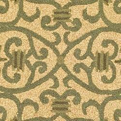 Safavieh Hand-hooked Iron Gate Yellow/ Light Green Wool Rug (4' Round)