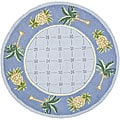 Hand-hooked Palm Light Blue/ Blue Wool Rug (4' Round)
