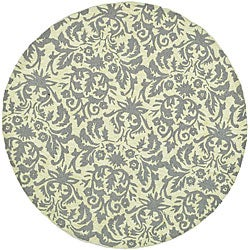 Hand-hooked Damask Beige-Yellow/ Grey Wool Rug (3' Round)