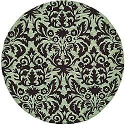 Safavieh Hand-hooked Damask Sage/ Chocolate Wool Rug (3' Round)