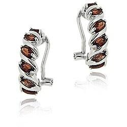 Glitzy Rocks Sterling Silver Garnet Half Hoop Earrings