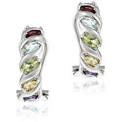 Glitzy Rocks Sterling Silver Multi Gemstone Half Hoop Earrings