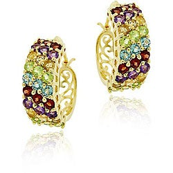 Glitzy Rocks 18k Gold over Silver Multi-gemstone Hoop Earrings
