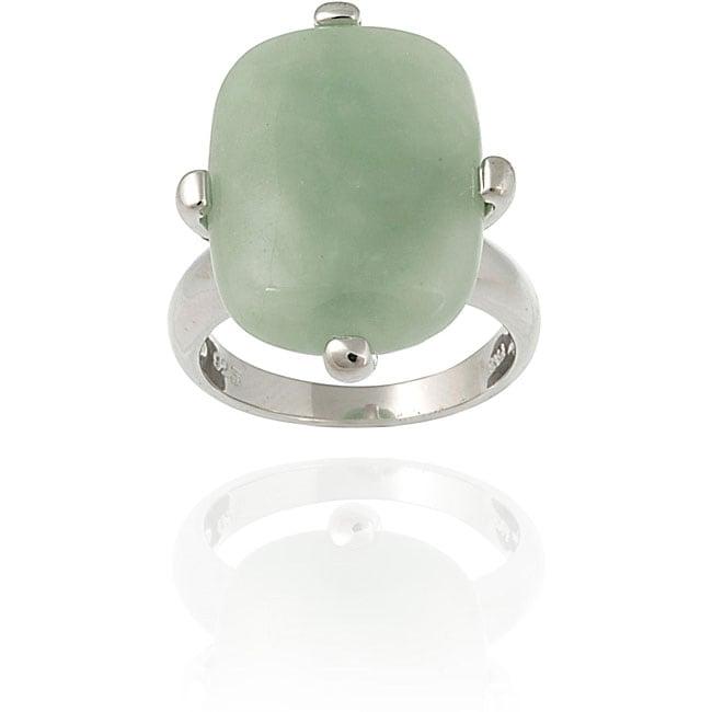 Glitzy Rocks Sterling Silver Rectangular Green Jade Ring